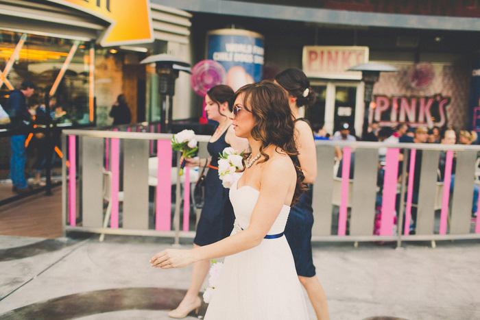 bride walking down Vegas strip