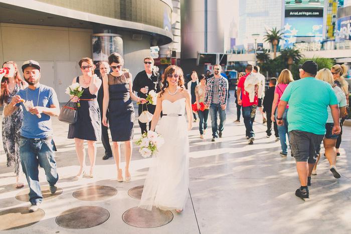 bride walking in Vegas