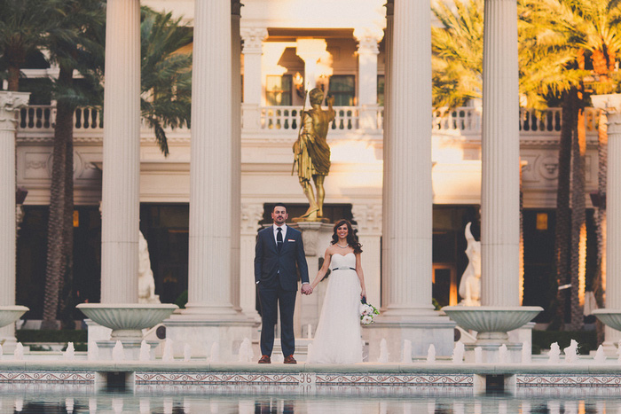 bride and groom portrait at Cesar's Palace