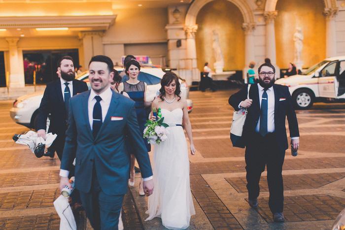 wedding party walking in Vegas