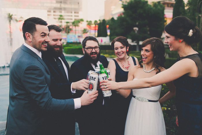 bridal party toast in Downtown Vegas