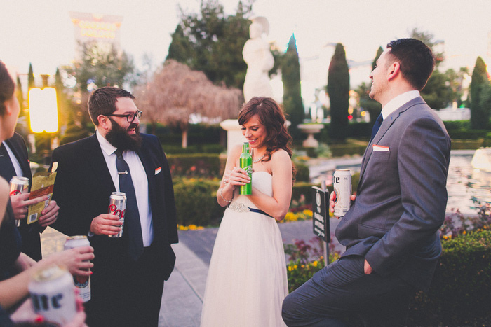 bridal party drinking beer