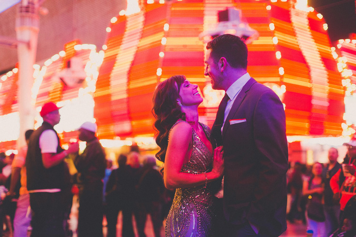 bride and groom portrait in Vegas at night