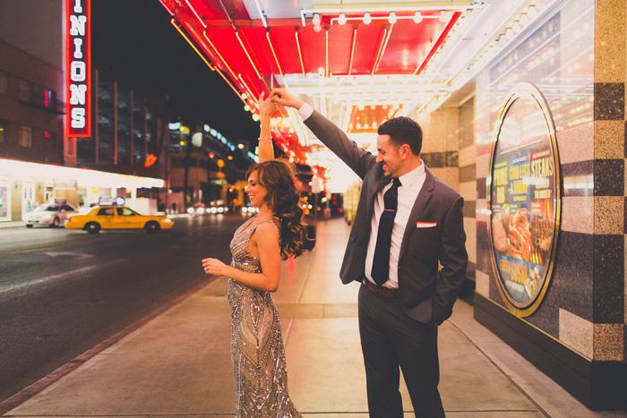 bride and groom dancing on Vegas strip