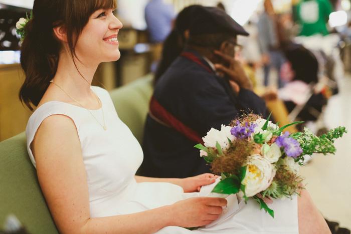 bride waiting at city hall