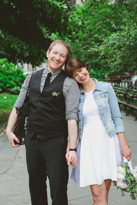 smilng bride and groom portrait