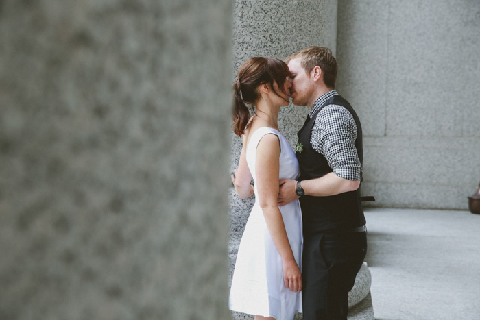 bride and groom kissing in New York