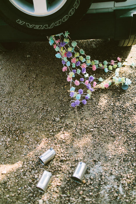 tin cans tied to car