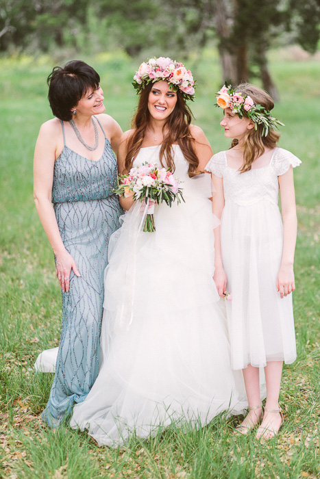 bride with her mother and flower girl