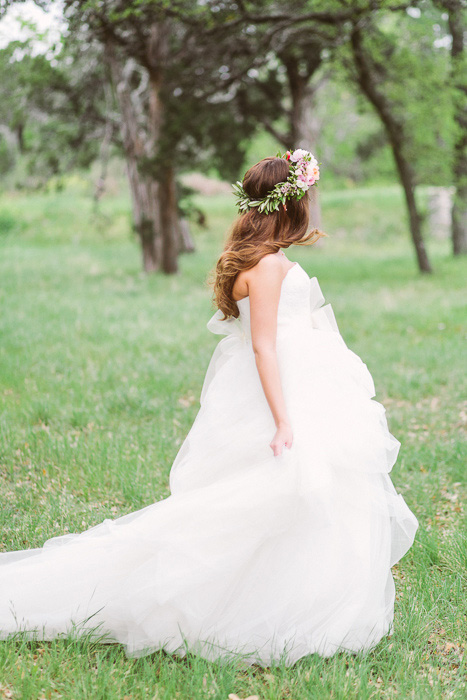 Texas bride on tulle dress and flower crown