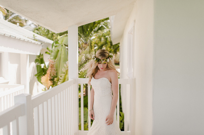 bride on resort balcony