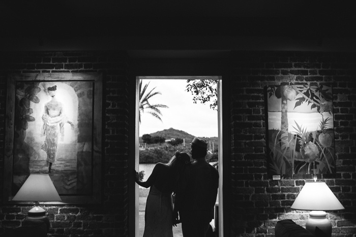black and white silhouette couple portrait