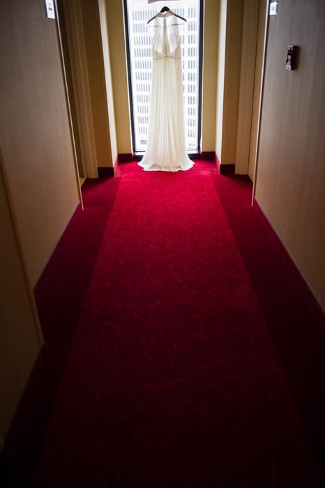dress hanging in hallway