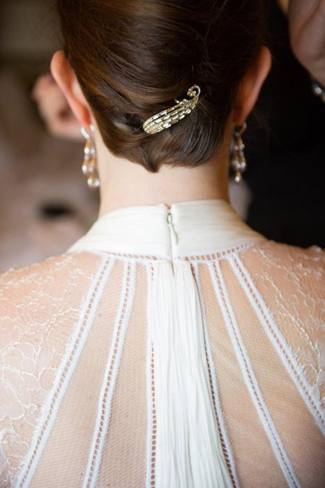 jewelled hair clip in bride's hair