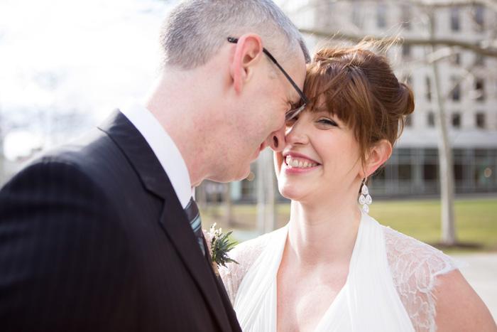 bride and groom head to head