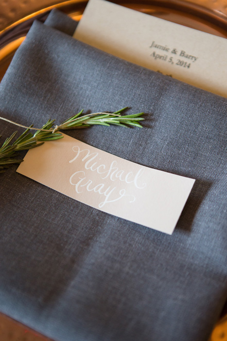 kraft and rosemary place card