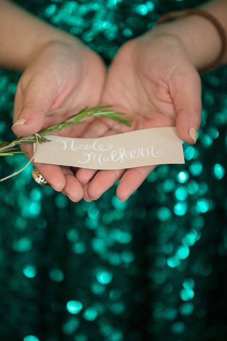 name tag with rosemary