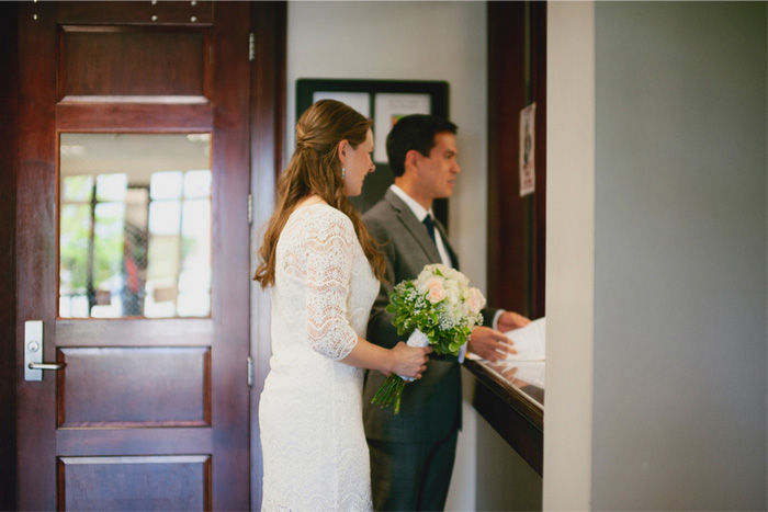 bride and groom at the courthouse
