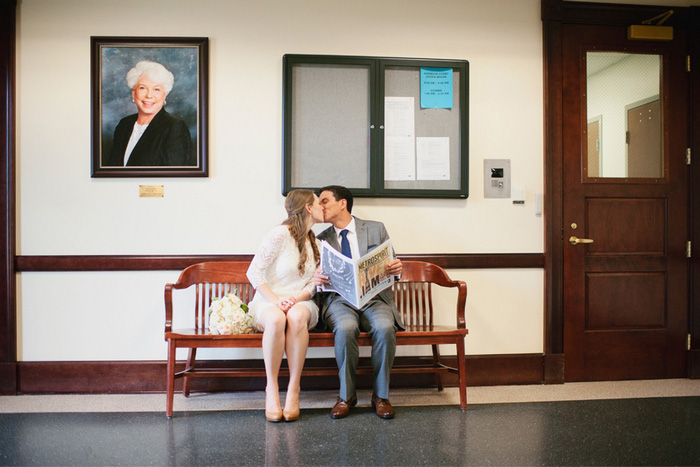 bride and groom waiting at courthouse