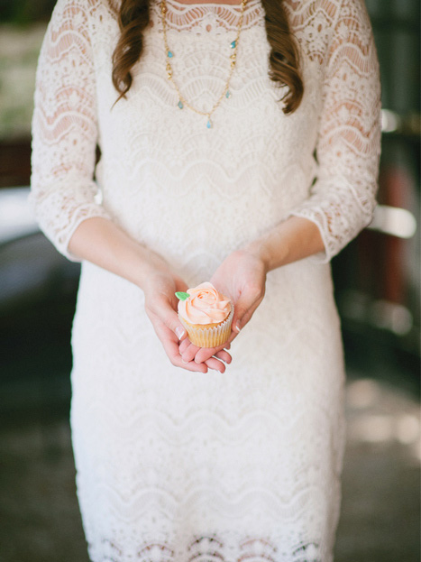 bride with cupcake