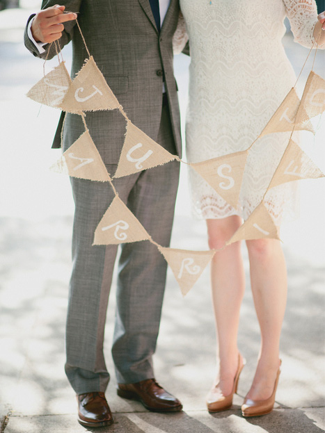 bride and groom with just married bunting