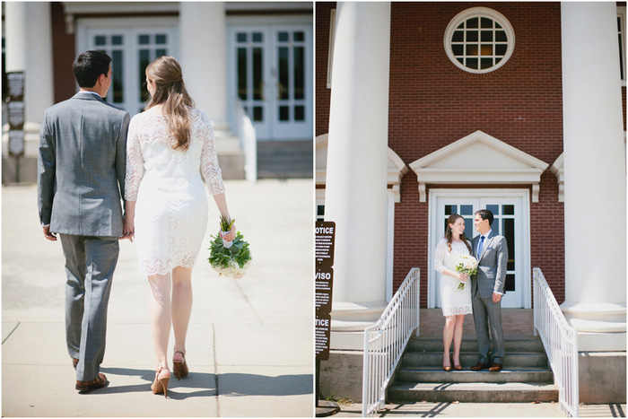 bride and groom heading to the courthouse
