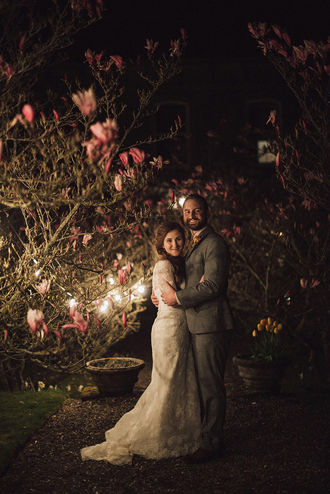 night time wedding portrait