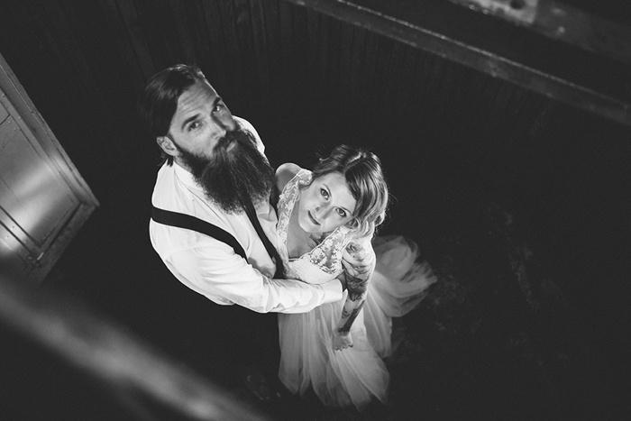 looking down on bride and groom