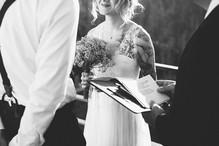 bride at elopement ceremony