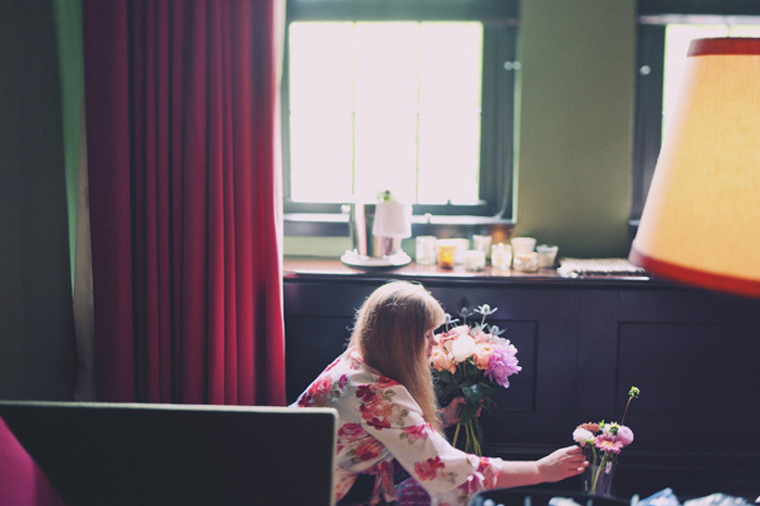 flowers being prepped in hotel room