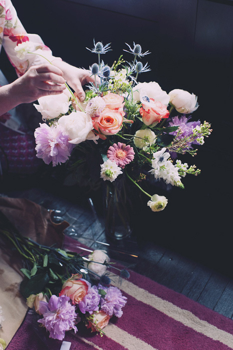 preparing wedding flowers