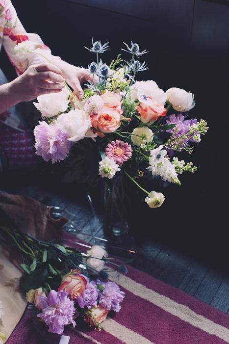 preparing wedding flowers
