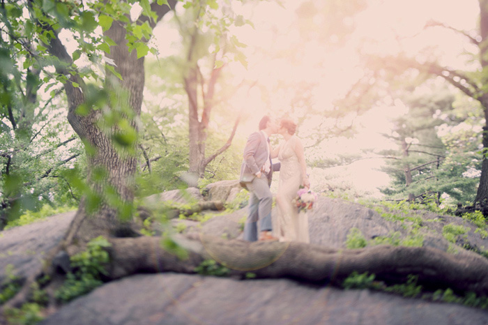 bride and groom portrait in Central Park