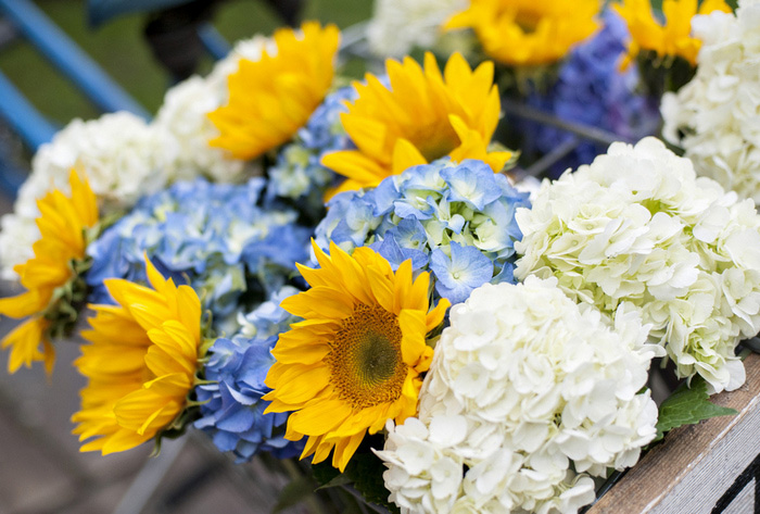 sunflowers in bike basket