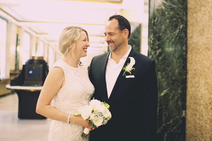 bride and groom portrait at city hall