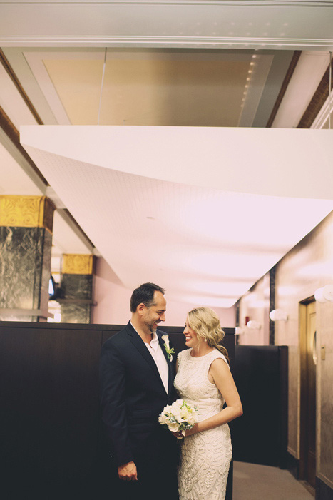 bride and groom at city hall