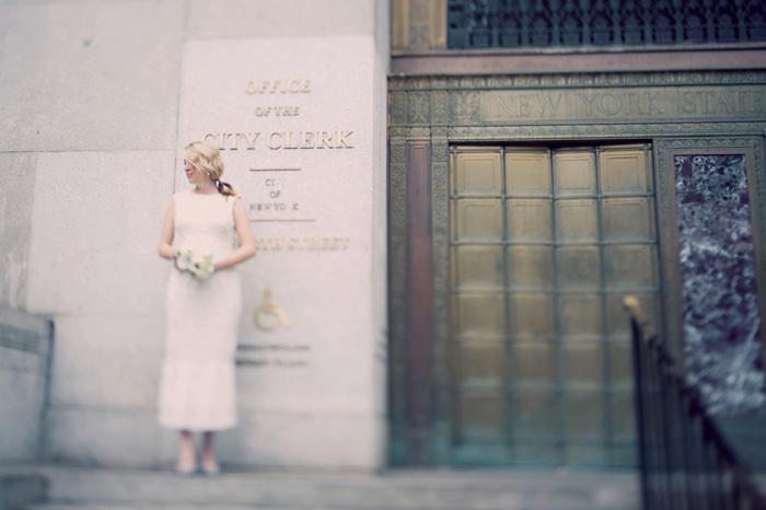 bride outside New York City Hall