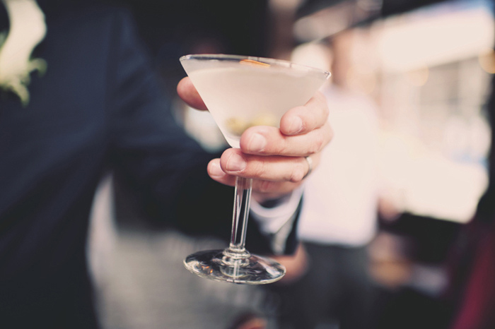 groom with martini