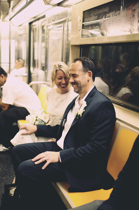 bride and groom on subway