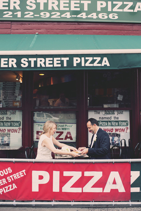 bride and groom at pizzeria