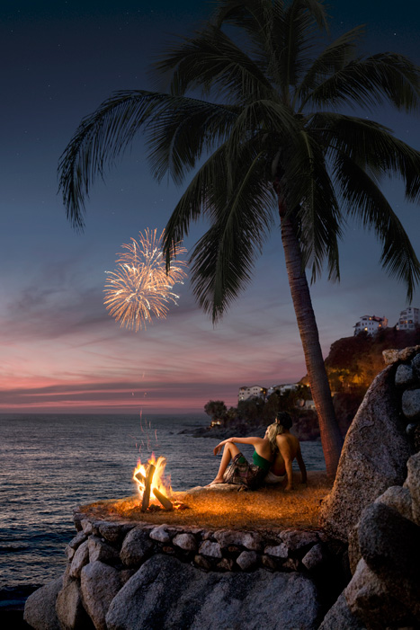 couple watching fireworks in Puerto Vallarta