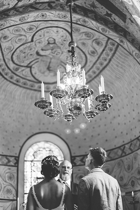 chandelier in wedding church