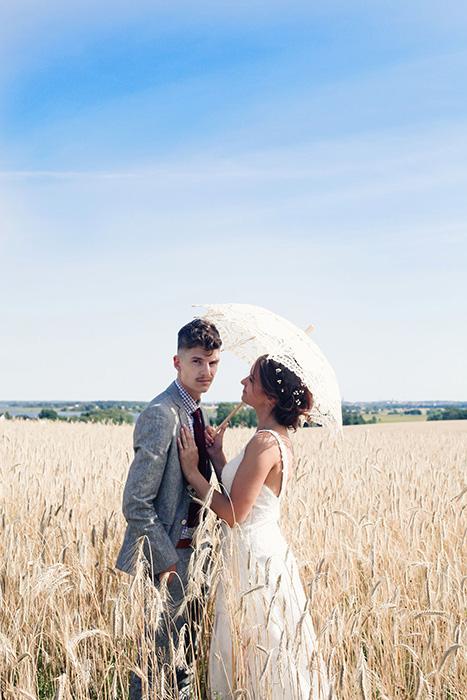 bride and groom in swedish field