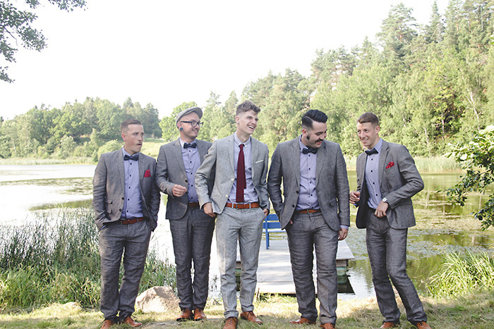 groomsmen by the lake