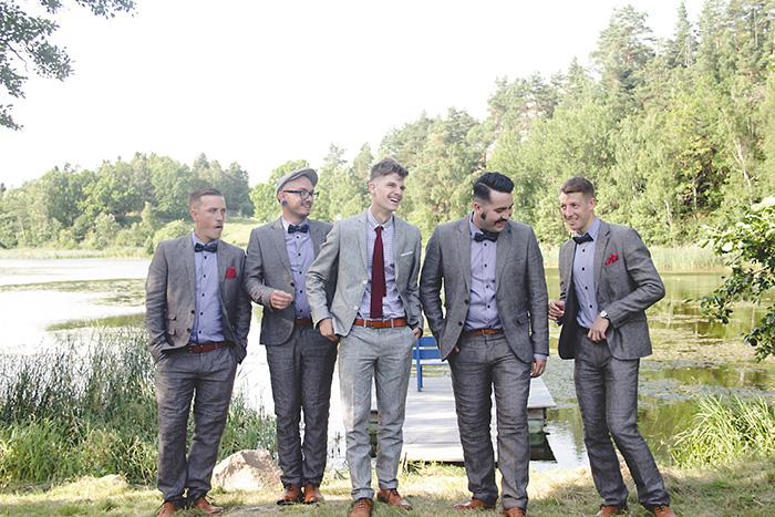 groomsmen by the lake