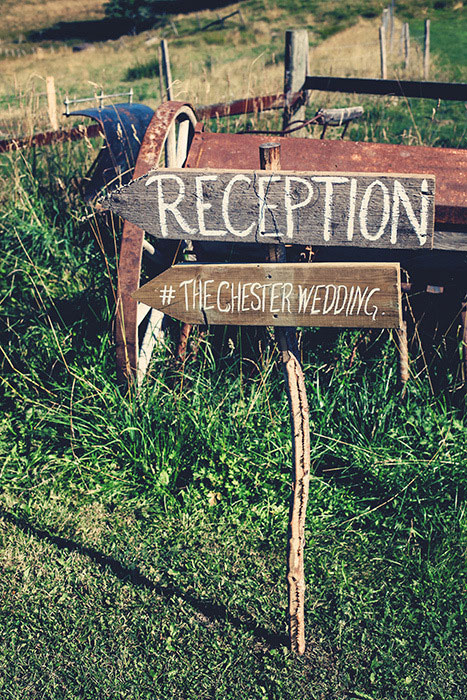 wooden wedding reception signs