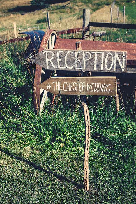 wooden wedding reception signs