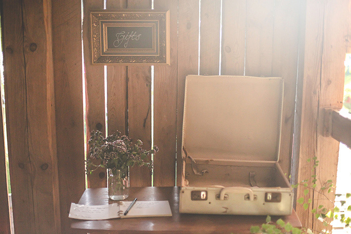 wedding card and gift table