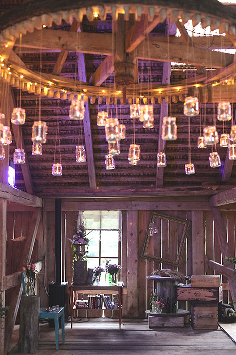 mason jar chandelier in barn