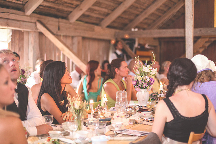Swedish barn wedding reception